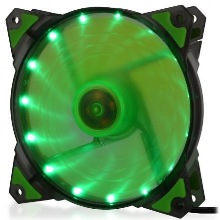 CROWN Вентилятор для компьютерного корпуса CMCF-12025S-1222 (120*120*25мм;Зелёный 16LED;1500 об/мин;35CFM;20Дб;Подшипник скольжения;3pin+MOLEX(папа-мама) 40+10см) вентилятор id cooling no 4010 sd 3pin molex 40 40 10 мм 4500об мин 12vdc