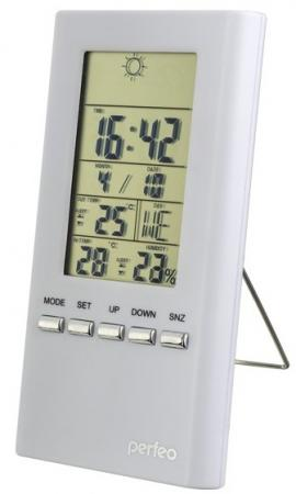 Perfeo Часы-метеостанция Meteo, белый,(PF-S3331F) время, темп., датчик ул. темп., влажность rst02555 meteo link цифровая барометрическая станция