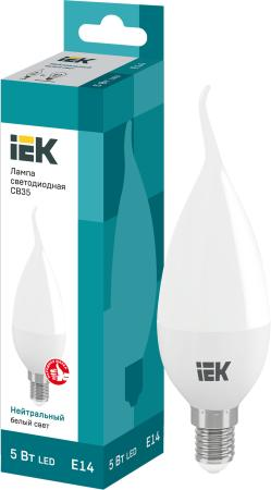 купить Лампа светодиодная свеча на ветру IEK LLE-CB35-5-230-40-E14 E14 5W 4000K по цене 45 рублей