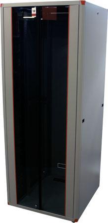 Шкаф напольный EVOLINE 1942U800x1000 передняя дверь двустворчатая стекло с металлической рамой слева и справа, задняя дверь двустворчатая металлическая , цвет серый шкаф напольный cloudmax 1936u800x1000 передняя дверь одностворчатая перфорированная задняя дверь двустворчатая перфорированная цвет черный