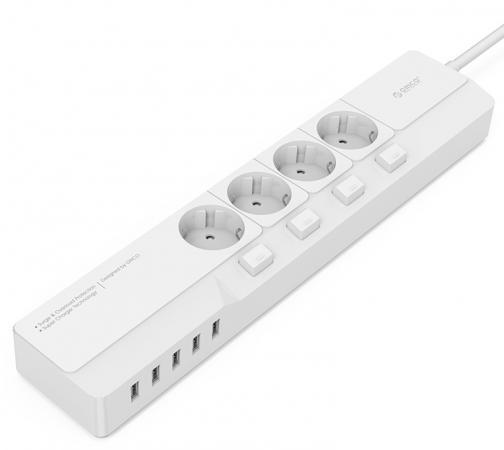 Сетевой фильтр Orico OSJ-4A5U-WH 4 розетки 5xUSB 1.5 м orico dpc 2a4u orico dpc 3a4u 2 jack 4 usb smart socket power strip
