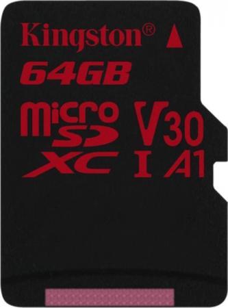 Флеш карта microSD 64GB Kingston microSDXC Class UHS-I U3 V30 Canvas React 80MB/s карта памяти sdxc 64gb class 10 kingston sda10 64gb uhs i read 60mb s write 35mb s