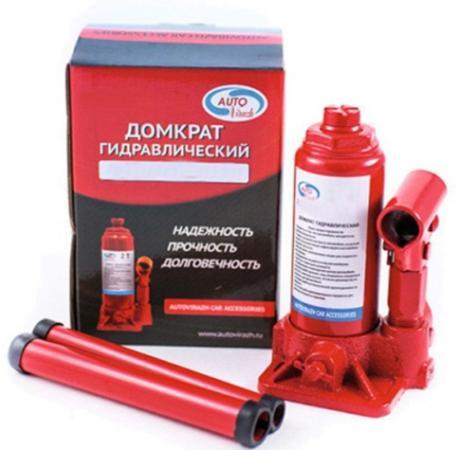 Домкрат AUTOVIRAZH AV-073402 гидравлический 2 т бутылочный в коробке 2-х штоковый красный car jack 2т autovirazh av 073402
