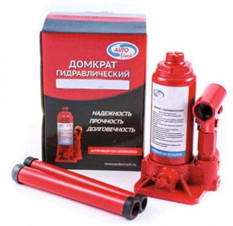 Домкрат AUTOVIRAZH AV-073406 гидравлический 6 т бутылочный в коробке 2-х штоковый красный домкрат гидравлический бутылочный 20 т