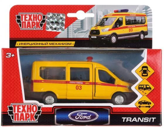 Инерционная машинка ТЕХНОПАРК FORD Transit «Скорая» желтый технопарк машинка инерционная уаз hunter скорая помощь