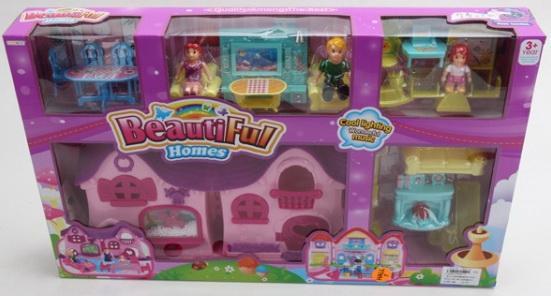 Дом для кукол, на бат. свет+звук, с фигурками и аксесс. 8161-2 в кор. в кор.2*12шт
