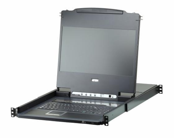 SINGLE RAIL DVI FULL HD LCD CONSOLE 17 INCH WITH 8 PORT KVM