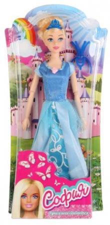 Кукла КАРАПУЗ София принцесса в голубом платье 29 см шарнирная