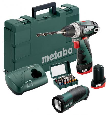 Акк.дрель-шуруповерт Metabo PowerMaxx BS Basic Set 600080930 +2X2Ah Li-ion 10.8B+ЗУ+фонарик+15 бит