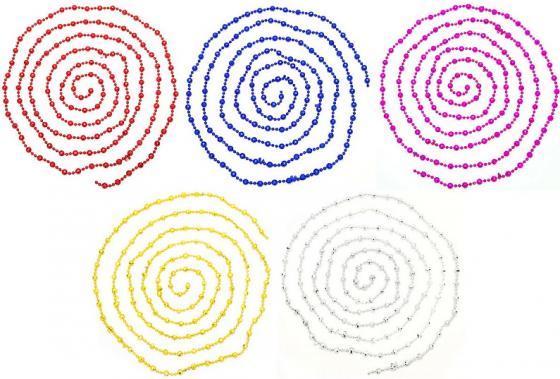 Украшение елочное бусы ГРАНИ, 270 см, 5 цв, пластик, 1 шт в пакете. украшение елочное бусы шары с блестящ крошкой 1 шт 180 см 6 цв полимерный мат в пакете lpg