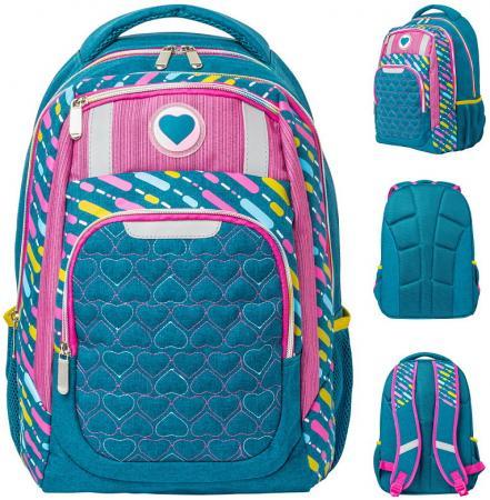 Рюкзак ACTION, разм. 42х29х13,5 см, синий/розовый, с принтом, улучшен. спинка, д/девочек