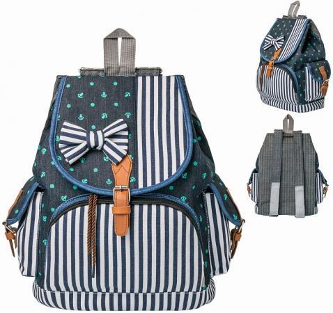 цена Рюкзак ACTION, разм.38х31х15 см, синий с принтом, мягкая спинка д/девочек онлайн в 2017 году