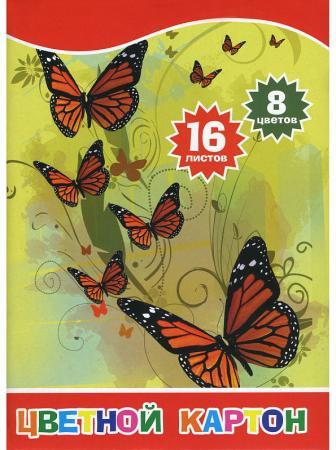 Набор цветного картона ACTION!, Бабочки и цветы, ф. А4, 8 цв., 16 л набор цветной бумаги и мел картона action love is ф а4 16 л 8 цв 8л карт 8л бум 2диз li ccp 16