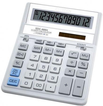 Калькулятор настольный Citizen SDC-888XWHWB 12-разрядный белый калькулятор citizen sdc 888xwh 12 разрядный белый