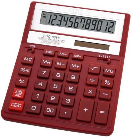 Калькулятор настольный Citizen SDC888XRDWB 12-разрядный бордовый citizen citizen ew2080 65a