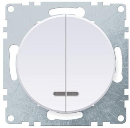 Механизм выключателя 2-кл ONEKEYELECTRO 1E31801300 СП Florence 10А IP20 с подсветкой бел