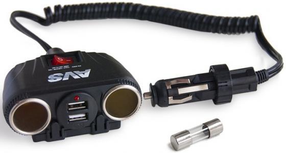 Разветвитель AVS CS230U прикуривателя 12/24 на 2 выхода+2usb