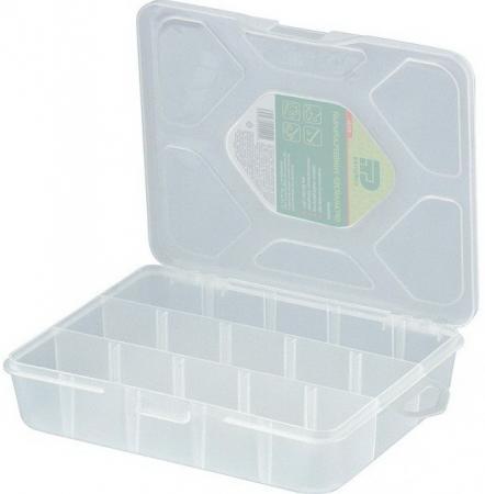 Органайзер СИБРТЕХ 90726 универсальный малый прозрачный матовый (19х16х4.5 см) органайзер сибртех 90738