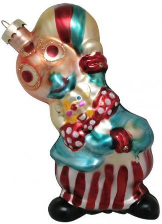 Украшение елочное КЛОУН стеклянный, 1 шт., 8,5х14 см украшение елочное шишка жемчужный узор 1 шт 11 7 см 3 цвета в карт кор стекло