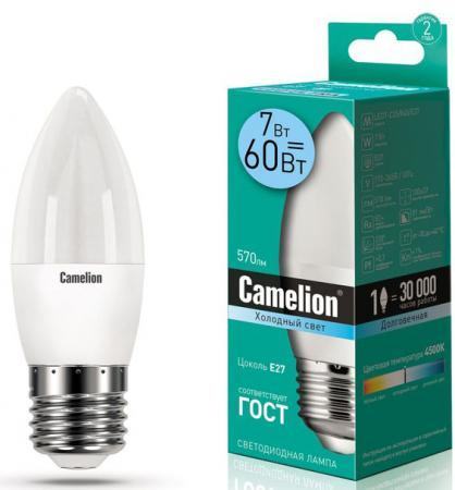 купить Лампа светодиодная свеча Camelion LED7-C35/845/E27 E27 7W 4500K по цене 85 рублей