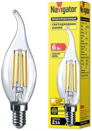Фото - Лампа светодиодная свеча на ветру Navigator 61 355 NLL-F-FC35-6-230-2.7K-E14 E14 6W 2700K боди детский luvable friends 60325 f бирюзовый р 55 61