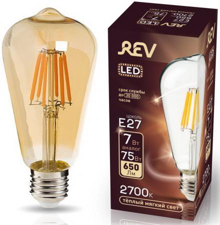 лампа светодиодная груша эра а60 7w 827 e27 e27 7w 2700k Лампа светодиодная груша Rev ritter 32436 2 filament vintage st64 e27 E27 7W 2700K