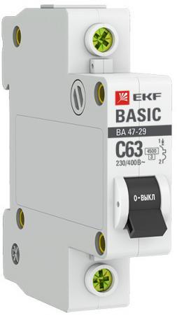 Автомат EKF mcb4729-1-10C 1п c 10а ва 47-29 4.5ка basic ограничитель ekf opv d1