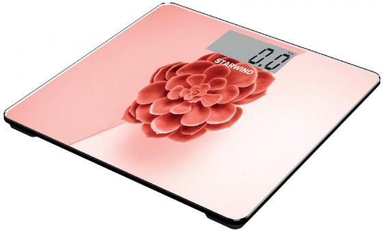 Весы напольные StarWind SSP6041 розовый красный рисунок