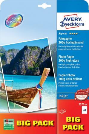 Фотобумага Avery Zweckform 2572-50 A4/200г/м2/50л. глянцевое для струйной печати цена