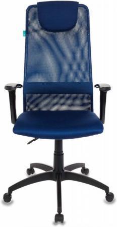 Кресло руководителя Бюрократ KB-8N/DB/TW-10N синий TW-05N TW-10N сетка кресло бюрократ ch 599axsn на колесиках ткань темно синий [ch 599 db tw 10n]