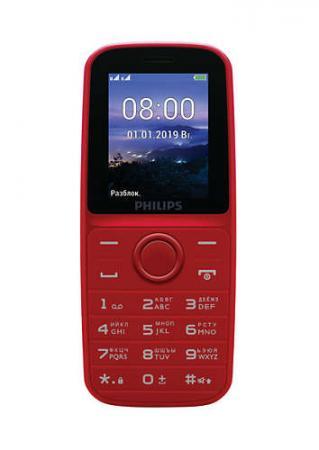 Мобильный телефон Philips E109 Xenium красный моноблок 2Sim 1.77 128x160 GSM900/1800 MP3 FM microSD max16Gb мобильный телефон philips e570 xenium dark gray