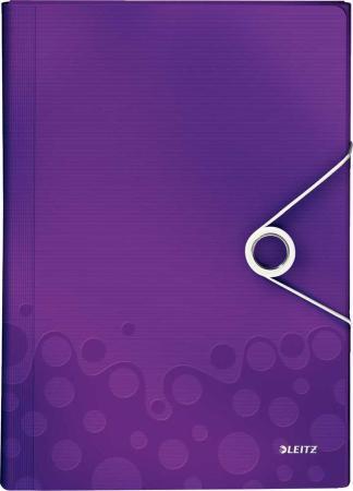 Папка на резинке Esselte Leitz WOW 45890062 A4 полипропилен фиолетовый вмест.:200лист. папка на резинке природные цветы a4 в ассортименте