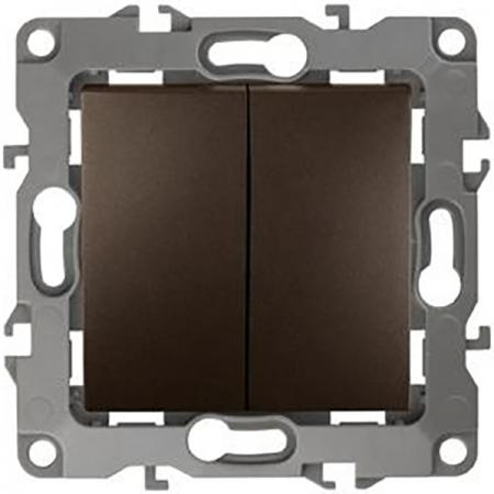 Выключатель двойной ЭРА 12-1004-13 10АХ-250В, IP20, без м.лапок, Эра12, бронза