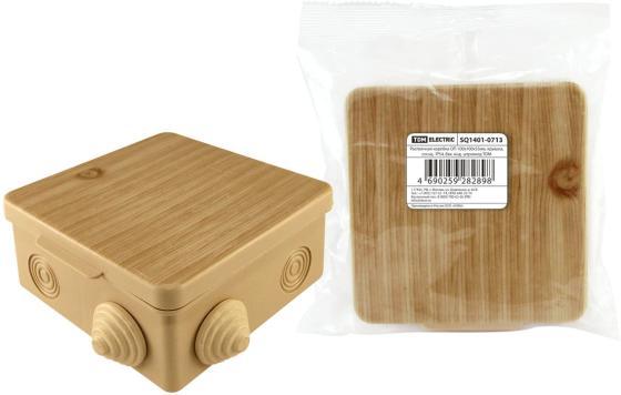 Коробка распаячная ТДМ SQ1401-0713 100х100х55мм крышка сосна IP54 8вх. распаячная коробка с крышкой оп 240х195х165мм ip44 кабельные ввода d28 3шт d37 2шт tdm sq1401 1273