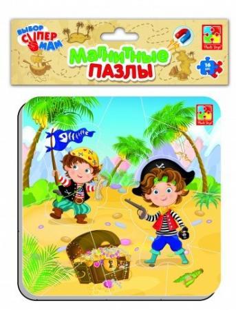 Пазл на магните 16 элементов Vladi toys Пираты мягкий пазл vladi toys животные 16 элементов