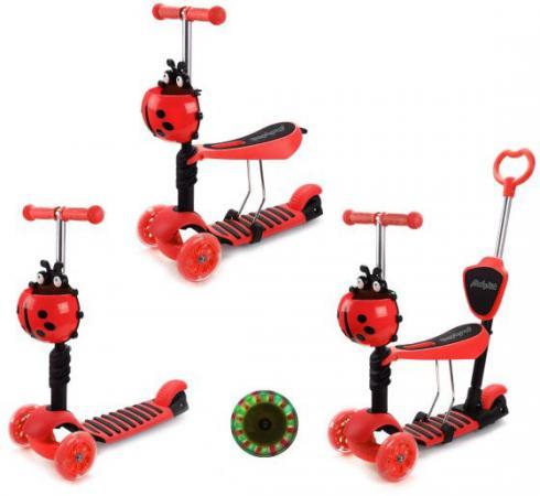 Купить Самокат трехколёсный Moby Kids Божья коровка 3 в 1 120/100 мм красный 641275, Трехколесные самокаты для детей