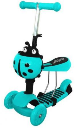 Купить Самокат трехколёсный Moby Kids Божья коровка 2 в 1 120/100 мм синий 641271, Трехколесные самокаты для детей