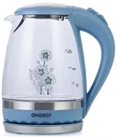 лучшая цена Чайник ENERGY E-279 стекло синий