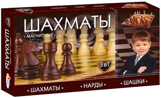 Настольная игра развивающая ИГРАЕМ ВМЕСТЕ Шахматы, шашки, нарды настольные игры играем вместе магнитные шахматы 3 в 1 g049 h37005r