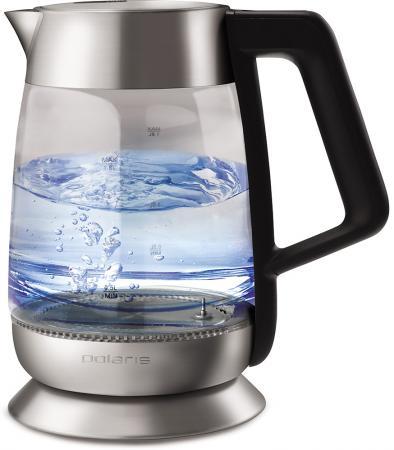 лучшая цена Чайник электрический Polaris PWK 1873CGLD 2200 Вт чёрный 1.8 л стекло