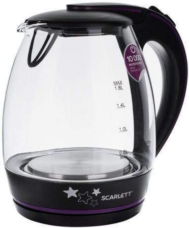 Чайник электрический Scarlett SC-EK27G59 2200 Вт чёрный 1.8 л пластик/стекло чайник scarlett is ek20p01 2200 вт 1 7 л металл пластик белый коричневый