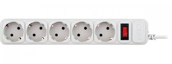 цена на CBR Сетевой фильтр CSF 2500-1.8 5 розеток, 1.8 метра, White CB (коробка)