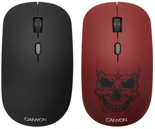 CANYON CND-CMSW401RS {wireless Optical Mouse with 4 buttons, DPI 800/1200/1600, 1 additional cover(Red skull), black, 103*58*32mm, 0.087kg, 2.4GHz}