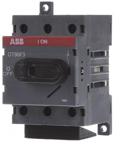 АВВ 1SCA105798R1001 Рубильник OT80F3 до 80А 3х-полюсный для установки на DIN-рейку или монтажную плату (с резерв. ручкой) счетчик электроэнергии многотарифный 1ф авв e31 412 200 1 0 5 80а на din рейку