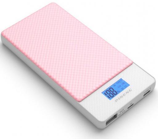 Внешний аккумулятор Power Bank 10000 мАч Pineng PN-993PK розовый QC 3.0 Type-C цена и фото