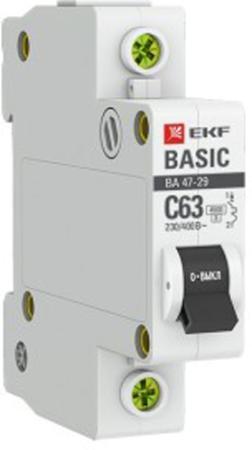 Автомат EKF mcb4729-1-06C 1п c 6а ва 47-29 4.5ка basic ограничитель ekf opv b3