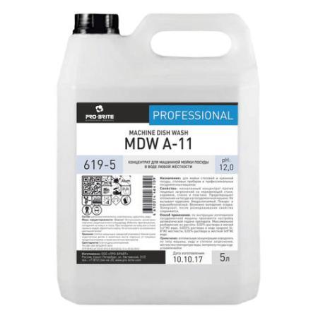 Средство для мытья посуды в посудомоечных машинах 5 л, PRO-BRITE MDW A-11, щелочное, концентрат, 619-5 pro brite mdw a 11 моющее средство для посудомоечной машины 5 л