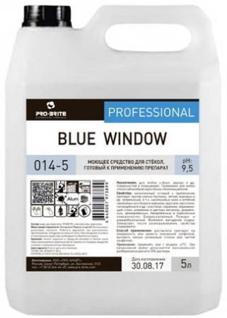 Средство для мытья стекол и зеркал 5 л, PRO-BRITE BLUE WINDOW, щелочное, низкопенное, концентрат, 014-5 средство для мытья посуды в посудомоечных машинах 5 л pro brite mdw a 11 щелочное концентрат 619 5