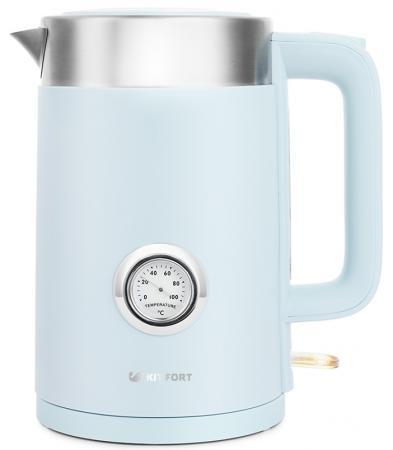 Чайник электрический KITFORT КТ-659-3 2200 Вт голубой 1.7 л пластик чайник электрический kitfort кт 634 3 2150 вт бежевый 1 7 л пластик