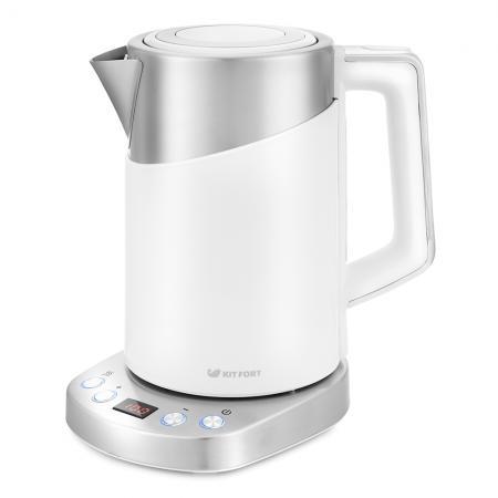 Чайник электрический Kitfort КТ-660-1 1.7л. 2200Вт белый (корпус: пластик) чайник электрический kitfort кт 663 1 1 7л 2200вт бежевый